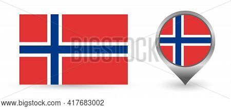 Vector Flag Norwegian. Location Point With Flag Norway Inside.