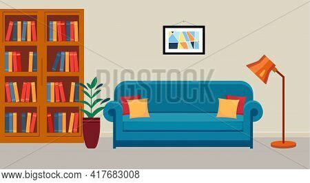 Interior Of Public Library. Room With Bookcase, Sofa And Reading Lamp.