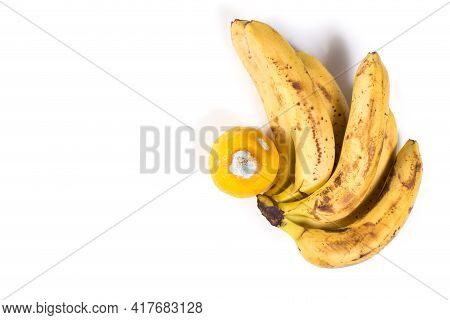 Spoiled Fruits On A White Background. Old Bunch Of Bananas With Mouldy Lemon Isolated On A White Wit