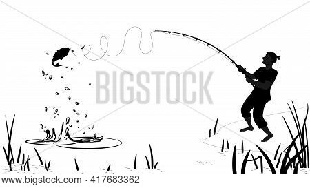 The Man Caught A Fish. Summer Fishing, Black Silhouette Of A Fisherman And A Fish On A White Backgro