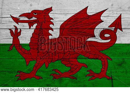 Flag Of Wales. Wooden Texture Of The Flag Of Wales.