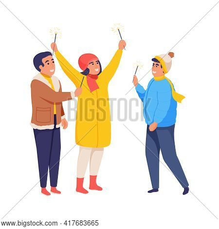 Cheerful People With Bengal Lights Celebrating Holiday Flat Isolated Vector Illustration