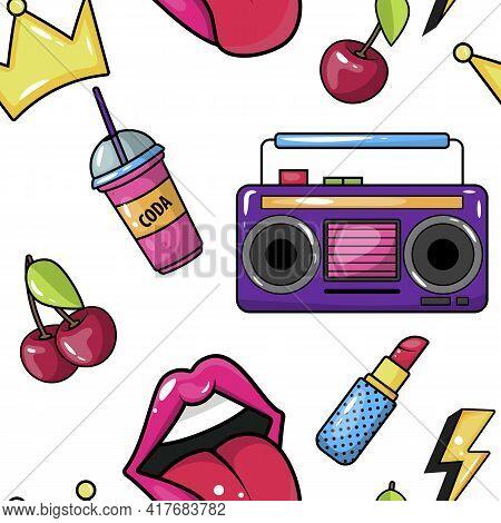 Retro Pop Eighties Boombox Radio Seamless Pattern. 80 S Background Wallpaper