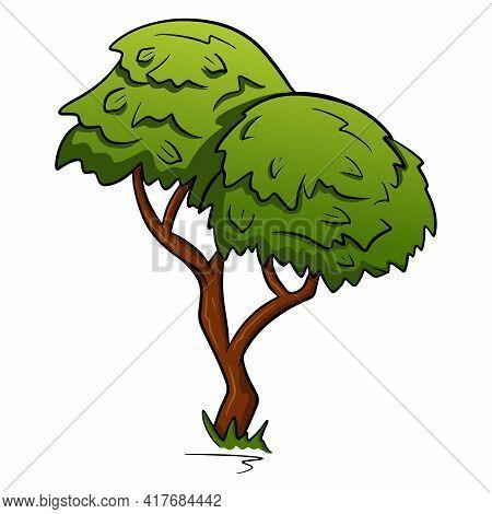 Wood. Sprawling Tree. Nature. Flora. Cartoon Style. Vector Illustration.