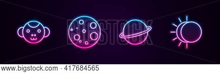 Set Line Monkey Zodiac, Moon, Planet Saturn And Eclipse Of The Sun. Glowing Neon Icon. Vector