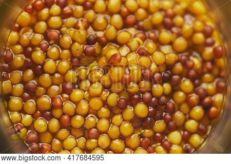 French mustard with whole seeds served in glass jar. Selective focus