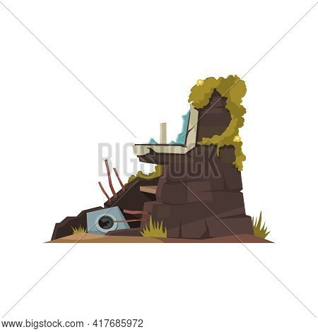 Overgrown Part Of Destroyed House Wall Cartoon Icon Vector Illustration