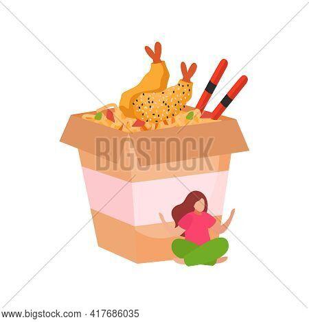 Paper Box With Wok Noodles Prawns And Chopsticks Flat Vector Illustration