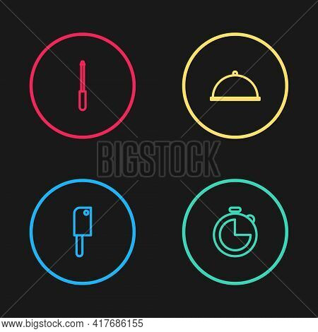 Set Line Meat Chopper, Kitchen Timer, Covered With Tray And Knife Sharpener Icon. Vector