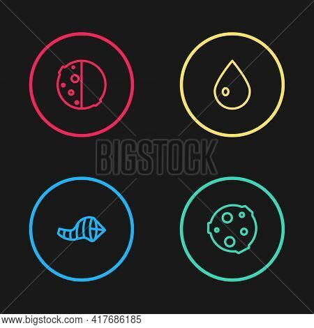 Set Line Cone Meteorology Windsock Wind Vane, Moon, Water Drop And Eclipse Of The Sun Icon. Vector