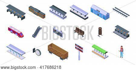 Railway Platform Icons Set. Isometric Set Of Railway Platform Vector Icons For Web Design Isolated O