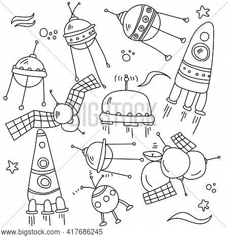 Spacecraft Doodles, Outline Satellites And Rockets For Coloring Pages Or Design Vector Illustration