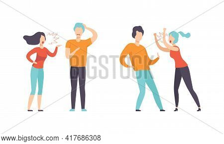 Man And Woman Quarrelling And Arguing With Each Other Shouting And Yelling Vector Illustration Set