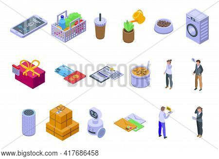 Personal Assistant Icons Set. Isometric Set Of Personal Assistant Vector Icons For Web Design Isolat