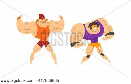 Muscular Wrestler Posing And Striking Engaged In Mixed Martial Arts Fighting Vector Set