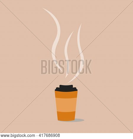 Aromatic Hot Coffee In A Disposable Cup Isolated. Vector Illustration.
