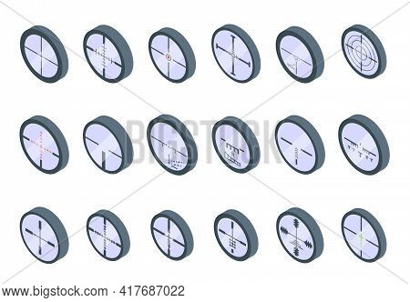 Telescopic Sight Icons Set. Isometric Set Of Telescopic Sight Vector Icons For Web Design Isolated O