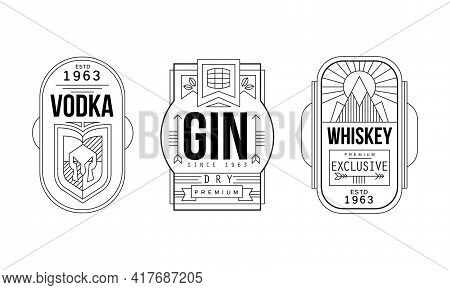 Alcohol Labels With Gin, Vodka And Whiskey Vector Set