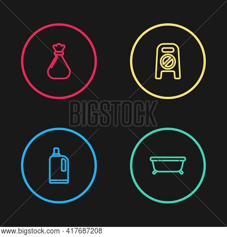 Set Line Fabric Softener, Bathtub, Wet Floor And Cleaning In Progress And Garbage Bag Icon. Vector