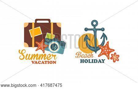 Beach Holiday And Summer Vacation At Sea Shore Vector Composition Set