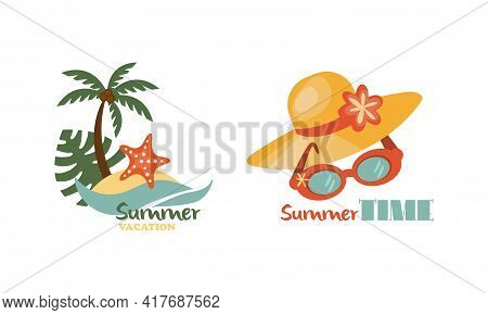 Straw Hat And Palm Tree As Beach Holiday And Summer Vacation At Sea Shore Vector Composition Set