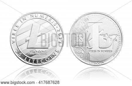 Litecoin Coin Isolated On White Background. Cryptocurrency