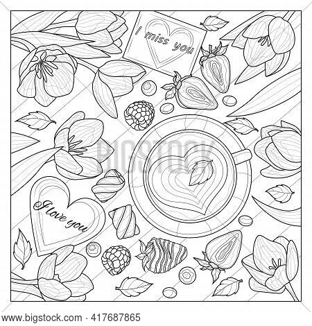 Tulips And Coffee On The Table. Romance.coloring Book Antistress For Children And Adults.