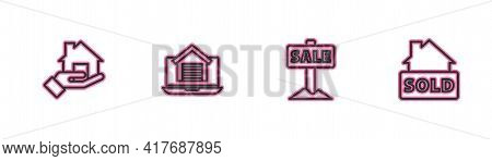 Set Line Realtor, Hanging Sign With Sale, Online Real Estate House And Text Sold Icon. Vector