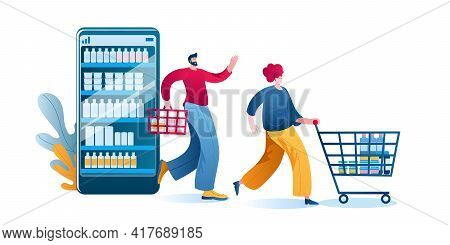 Happy People Come Out With Purchases From An Online Supermarket On A Smartphone. Concept Of A Vector