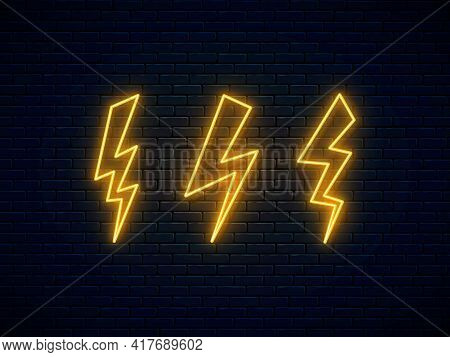 Neon Lightning Bolt Set. High-voltage Thunderbolt Neon Symbol. Electric Discharge. Thunder And Elect