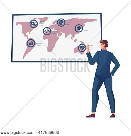 Migrant Workers Flat Composition With Human Character With World Map And Work Condition Icons Vector