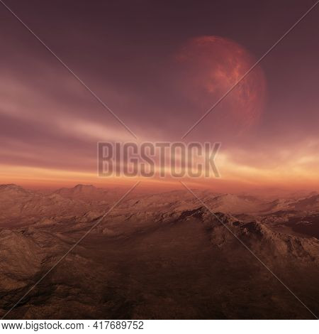 3d Rendered Space Art: Alien Planet - A Fantasy Landscape With Red Planet And Red Skies