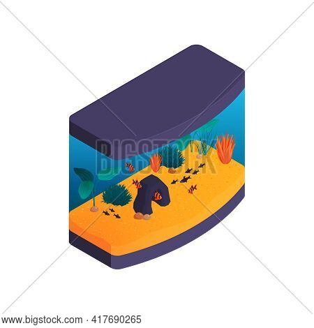 Isometric Aquarium Composition With Isolated Image Of Modern Aquarium With Fishes Vector Illustratio