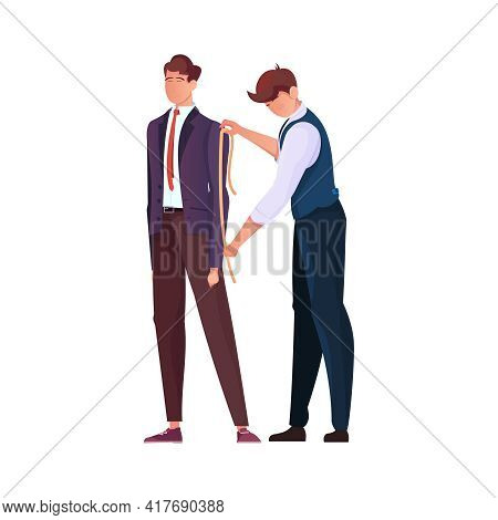Tailoring Flat Composition With Human Character Of Tailor Measuring Sleeve Length Of Clients Jacket