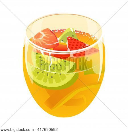Refreshing Summer Cocktail With Strawberries, Lemon And Kiwi. Glass. Glass. Cool Fruity Drink At The
