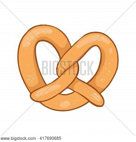 Colorful Cartoon Pretzel With Salt. Isolated On A White Background. For Fast Food Menus.
