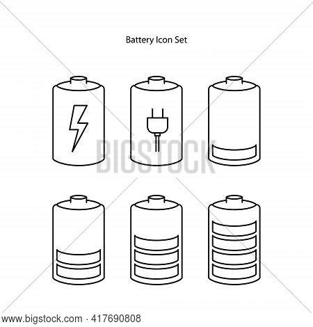 Battery Icon Set Isolated On White Background. Battery Icon Thin Line Outline Linear Battery Symbol