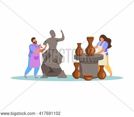 Hobby Flat Composition With Human Characters Doing Sculpting And Ceramics Vector Illustration
