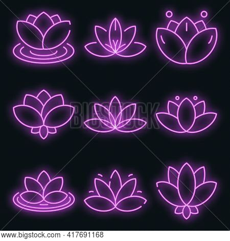 Lotus Icons Set. Outline Set Of Lotus Vector Icons Neon Color On White