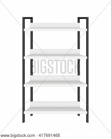 Realistic Empty Metal Rack With Four Shelves On White Background Vector Illustration