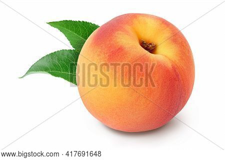 Ripe Peach Fruit Isolated On White Background With Clipping Path And Full Depth Of Field