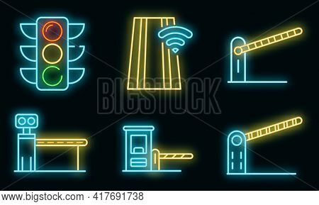 Toll Road Icons Set. Outline Set Of Toll Road Vector Icons Neon Color On White