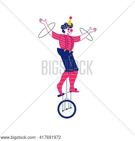 Circus Funfair Composition With Human Character Of Juggler On Monocycle Vector Illustration