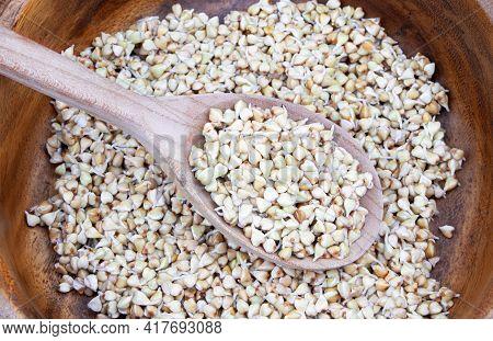 Sprouted Buckwheat Seeds In Wooden Plate. Healthy Vegan Food. Vegetarian Food. Nature Vitamins.super