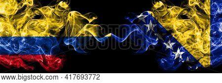 Colombia, Colombian Vs Bosnia And Herzegovina, Bosnian, Herzegovinian Smoky Mystic Flags Placed Side