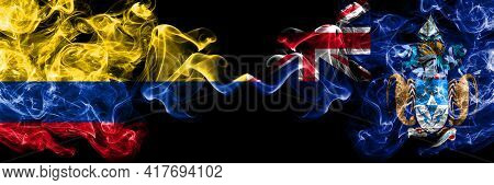 Colombia, Colombian Vs British, Britain, Tristan Da Cunha Smoky Mystic Flags Placed Side By Side. Th