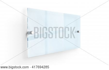 Blank Transparent Glass Interior Office Corporate Signage Plate Mock Up Template, Clear Printing Boa