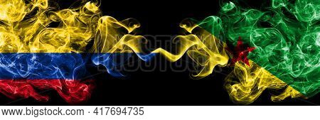 Colombia, Colombian Vs France, French Guiana Smoky Mystic Flags Placed Side By Side. Thick Colored S