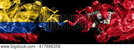 Colombia, Colombian Vs United Kingdom, Great Britain, British, Isle Of Mann  Smoky Mystic Flags Plac