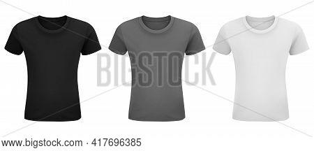 T-shirt Template Set. Front Side, Left Side, Back Side View Mockup. Black, Gray And White Front Desi